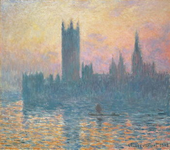Leinwand Poster The Houses of Parliament, Sunset, 1903