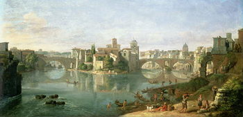 Leinwand Poster The Tiberian Island in Rome, 1685