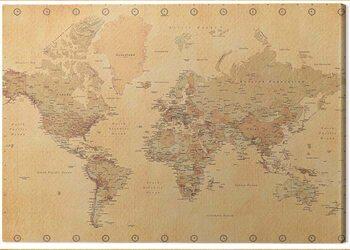 Leinwand Poster World Map - Vintage Style