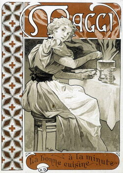 """Leinwand Poster Young woman cooking on a gas stove -  Maggi """""""" good food by the minute"""""""", by Mucha, circa 1890."""