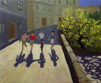 Leinwand Poster Children Running, Lesbos, 1999
