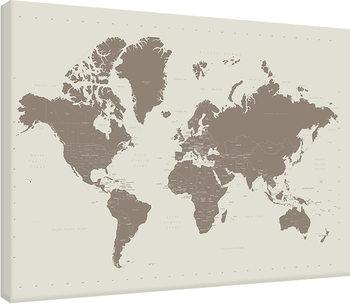 Leinwand Poster Karte von Welt, Weltkarte - Contemporary Stone