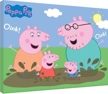 Leinwand Poster Peppa Wutz - Pig Family Muddy Puddles