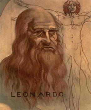 Leinwand Poster Portrait of Leonardo da Vinci with his `Vitruvian Man'