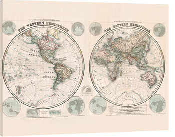 Leinwand Poster  Stanfords Eastern and Western Hemispheres Map - 1877