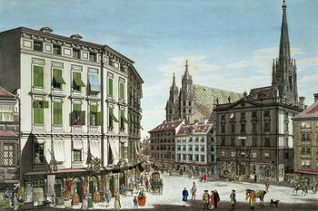 Leinwand Poster  Stock-im-Eisen-Platz, with St. Stephan's Cathedral in the background, engraved by the artist, 1779