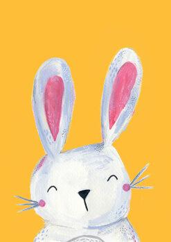 Leinwand Poster Woodland bunny on mustard