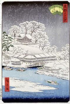 Lerretsbilde A village under the snow, Japan
