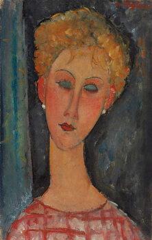 Lerretsbilde Blonde Woman with Curly Hair; La blonde aux boucles d'oreille