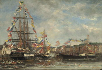 Festival in the Harbour of Honfleur, 1858 Lerretsbilde