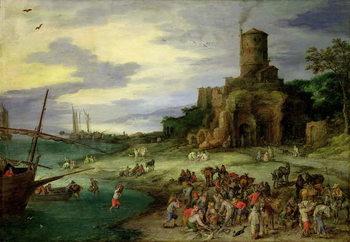 Fishermen on the Shore Lerretsbilde