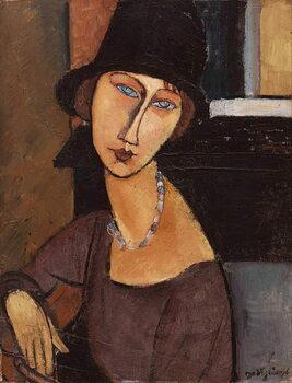 Lerretsbilde Jeanne Hebuterne wearing a hat
