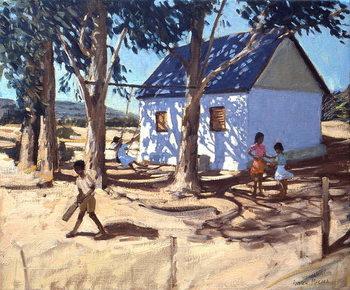 Lerretsbilde Little white house, Karoo, South Africa