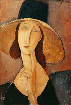 Lerretsbilde Portrait of Jeanne Hebuterne in a large hat, c.1918-19