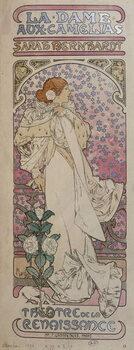 """Lerretsbilde Poster for """"La dame au camélias"""""""" at the Renaissance Theatre with Henriette Rosine Bernard dit Sarah Bernhardt  - by Mucha, 1896."""