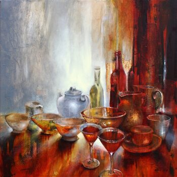 Lerretsbilde Still life with a grey teapot