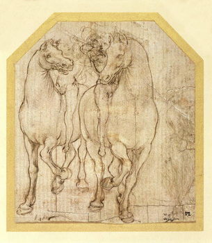 Lerretsbilde Study of Horses and Riders, c.1480