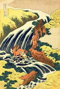 Lerretsbilde The Waterfall where Yoshitsune washed his horse', no.4 in the series 'A Journey to the Waterfalls of all the Provinces', pub. by Nishimura Eijudo, c.1832,