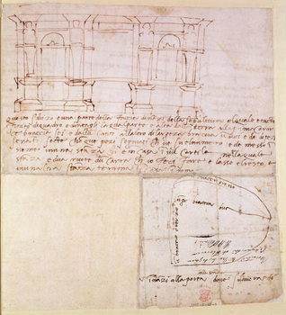 W.23r Architectural sketch with notes Lerretsbilde