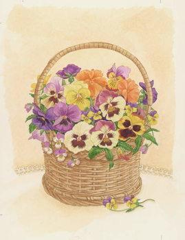 Basket of Pansies, 1998 Lerretsbilde