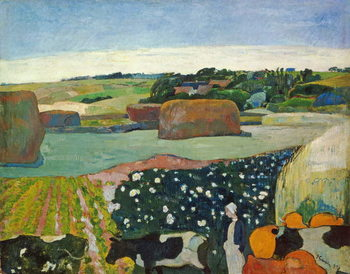 Haystacks in Brittany, 1890 Lerretsbilde