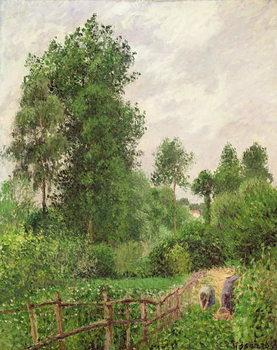 Paysage, temps gris a Eragny, 1899 Lerretsbilde