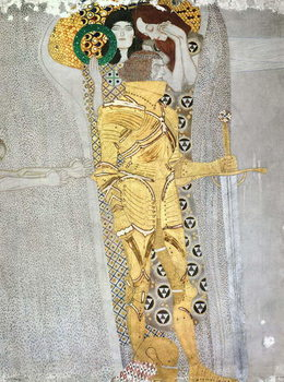The Knight detail of the Beethoven Frieze, said to be a portrait of Gustav Mahler (1860-1911), 1902 Lerretsbilde