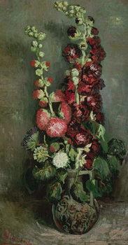 Vase of Hollyhocks, 1886 Lerretsbilde