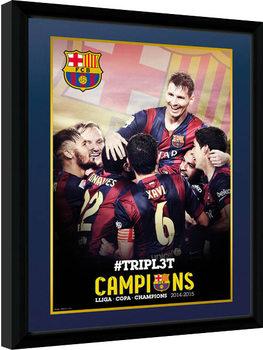 Barcelona - Triple Champions 15 Poster Incorniciato