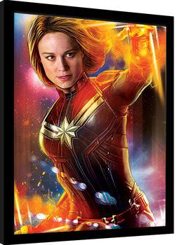 Captain Marvel - Glow Poster Incorniciato
