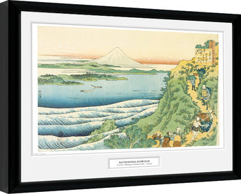 Hokusai - Travelers Climbing a Mountain Poster Incorniciato
