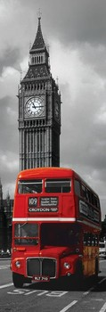 London - red bus плакат