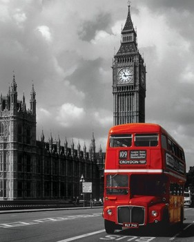 London - red bus плакат