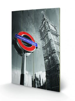 Bild auf Holz London - Underground Sign & Big Ben