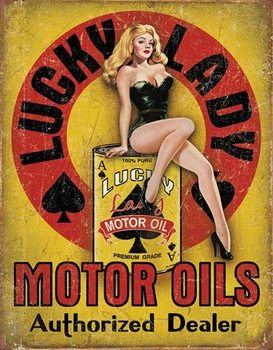 Lucky Lady - Motor Oil Metalen Wandplaat