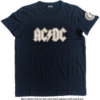 AC/DC- Logo & Angus Applique Slub Mens Navy Majica