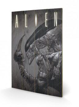 Målning på trä Alien - Head on Tail