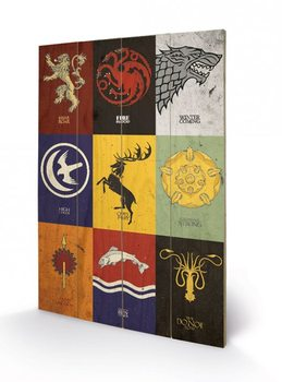 Tavla i trä Game of Thrones - Sigils