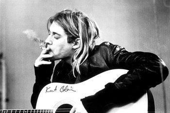 Kurt Cobain - smoking Inramad poster
