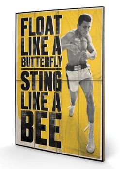 Målning på trä Muhammad Ali - Float Like A Butterfly
