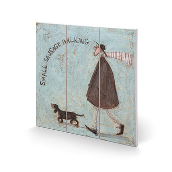 Tavla i trä Sam Toft - Small Sausage Walking