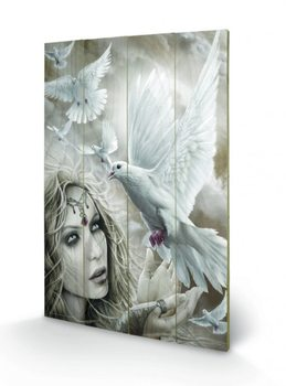 Målning på trä Spiral - Doves of Peacel