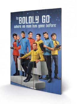 Målning på trä Star Trek - Boldly Go