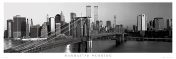 Manhattan - morning b&w Poster encadré avec lamination
