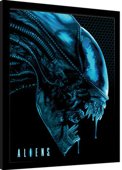 Poster enmarcado Aliens - Head Blue
