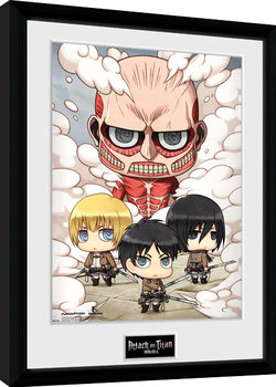 Attack On Titan - Chibi Group Poster enmarcado