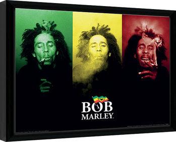 Bob Marley - Tricolour Smoke Poster enmarcado