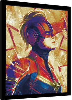 Captain Marvel - Paint Poster enmarcado