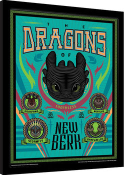 Cómo entrenar a tu dragón 3 - The Dragons Of New Berk Poster enmarcado