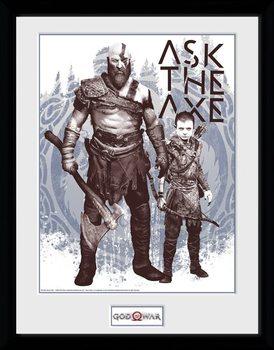 God Of War - Ask The Axe Poster enmarcado